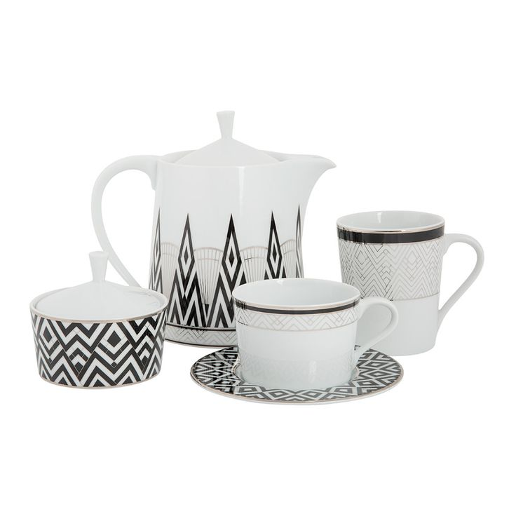 Create a stylish afternoon tea setting with this Addison tea collection from Amara. Luxurious and contemporary, this range boasts an eye-catching geometric print in black, metallic and white tones.