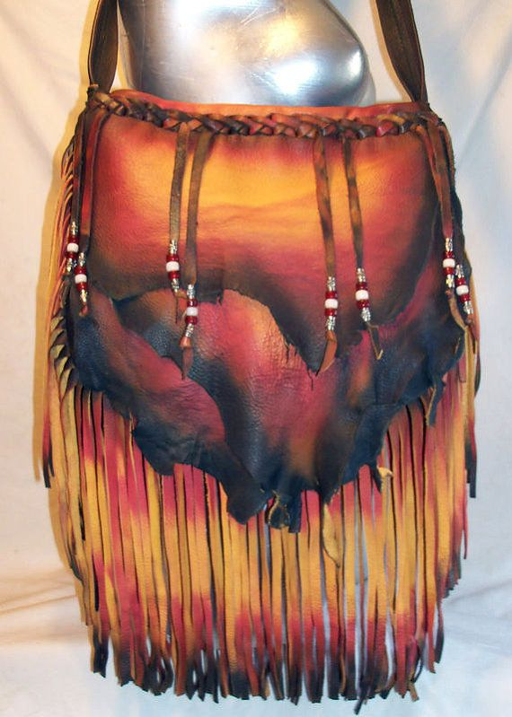 Designer Leather Handbag Custom Fringed Buckskin Purse by dleather, $249.95