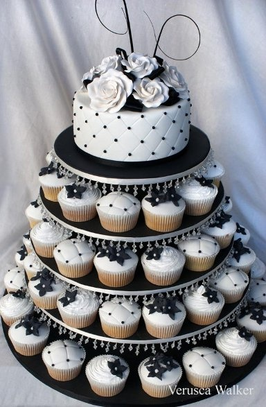 I like the idea of having a small cake on top for bride a groom to cut into.. And cupcakes for everyone else to eat. Not a lot of people even eat the cake a receptions.. So it's a good idea to save money and it looks cute. I would change the color according to the colors of my wedding :)