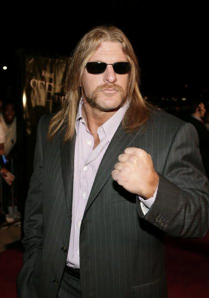 Wrestler Triple H arrives at the Lions Gate Premiere of 'See No Evil' at the Century Stadium Promenade 25 on May 8 2006 in Orange California