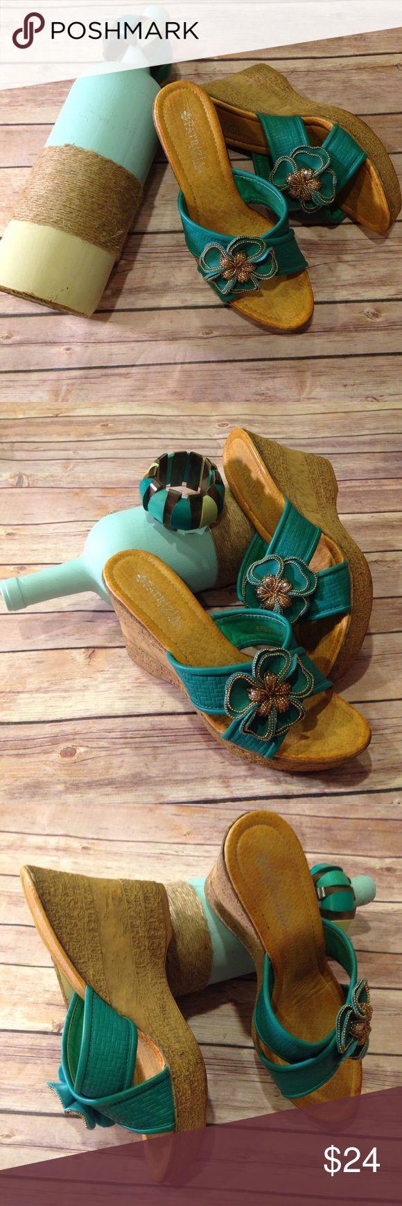 Patrizia Fresia Turquoise Wedge Sandal, Sz Euro 40 Patrizia by Spring Step turquoise floral embellished wedge sandal Patrizia Shoes Sandals