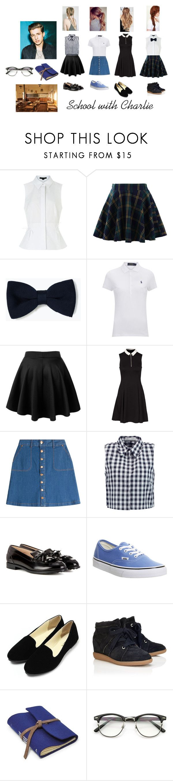School with Charlie by flowerdreams on Polyvore featuring New Look, Polo Ralph Lauren, Alexander Wang, Tanya Taylor, Chicwish, HUGO, Étoile Isabel Marant, Tod's, Vans and Zara