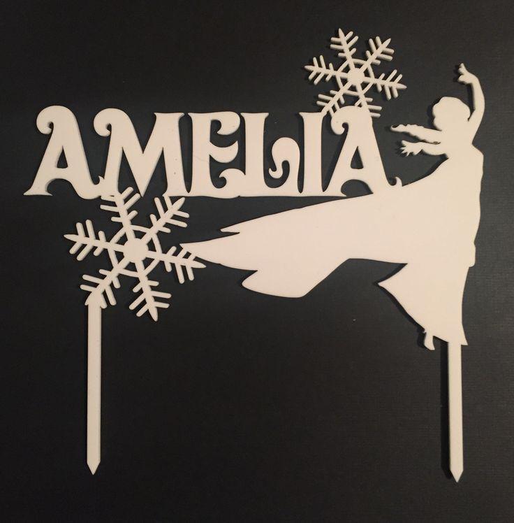 Amelia is having a Frozen birthday. Cake topper laser cut in white acrylic.