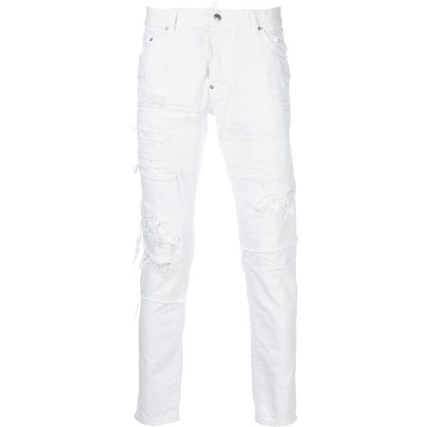 Dsquared2 distressed Skater jeans ($685) ❤ liked on Polyvore featuring men's fashion, men's clothing, men's jeans, white, mens button fly jeans, mens slim fit jeans, mens slim fit ripped jeans, mens white jeans and mens torn jeans
