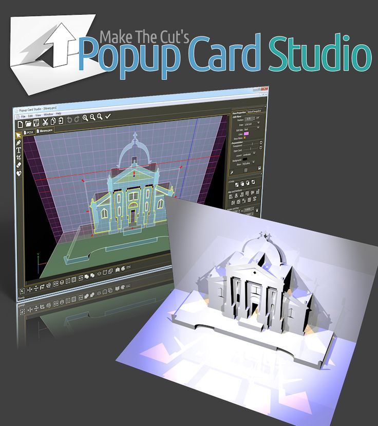 Create Unique Popup Cards in Minutes! … Not hours! Bring your cards into the 3rd dimension! Create popup cards and origamic architecture (otherwise known as Kirigami) in no time. With Popup Card Studio™ you will be able to create and edit in three dimensions allowing you to get a visual representation of your project that is as close to life as possible. Popup Card Studio™ will allow you to export in SVG, PDF and 3DS formats along with sending directly to your cutting machine (such as…