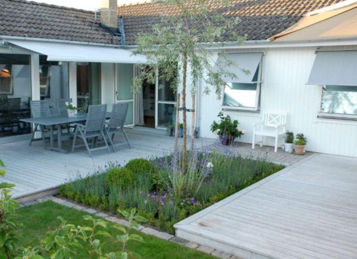 Liten trädgård radhus silverpäron trädäck vitt hus