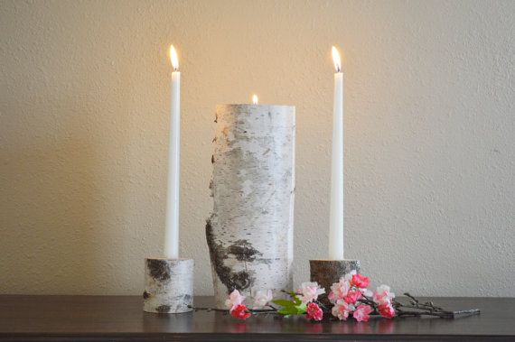 Wedding Unity Candle Holder Set - Wedding Ceremony, Rustic Birch Natural Unity Candle by TheCreativeQ