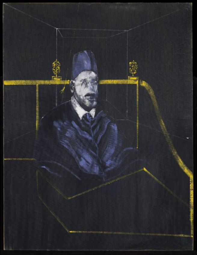 Francis Bacon. 'Study for Portrait VI' 1953  francis bacon paintings  plastic arts, visual arts, fine arts, art, black