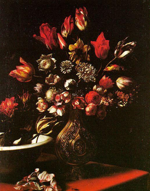 Carlo Dolci. Flowers, 1665-75, oil on canvas, Galleria degli Uffizi, Florence