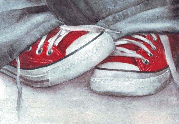 Original watercolor painting of Red Converse All Stars by HelgaMcL, $24.00