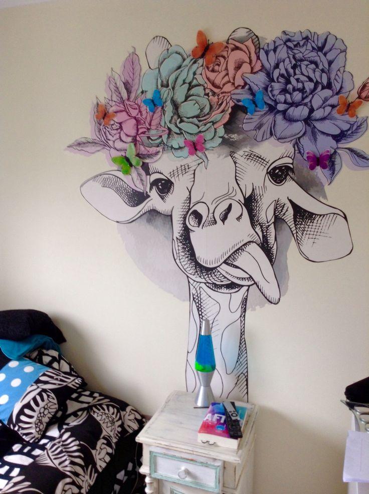 Papel mural ecológico  Jirafa con flores color pastel acuarela  Encuentra más diseños o envía tu propio diseño a www.ecodigital.cl