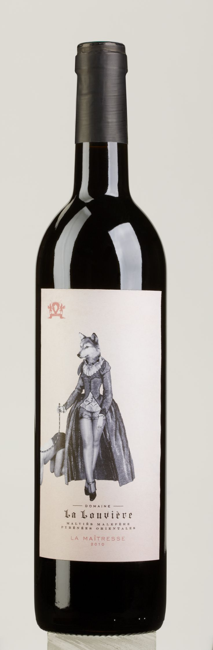 Domaine La Louvière - La Maîtresse - a red wine cuvée with Merlot, Cabernet Franc and Marselan, presented with the most unusual wine label