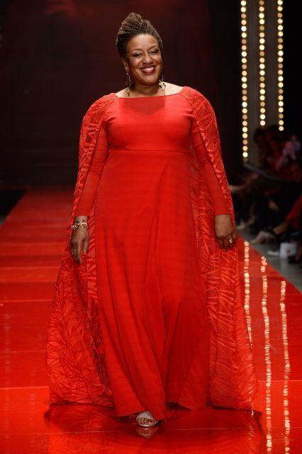 Actress C.C.H. Pounder walks the runway during the American Heart Association Go Red for Women Red Dress Collection 2017 presented by Macy's in the Hammerstein Ballroom on Feb. 9, 2017, during New York Fashion Week in Manhattan.
