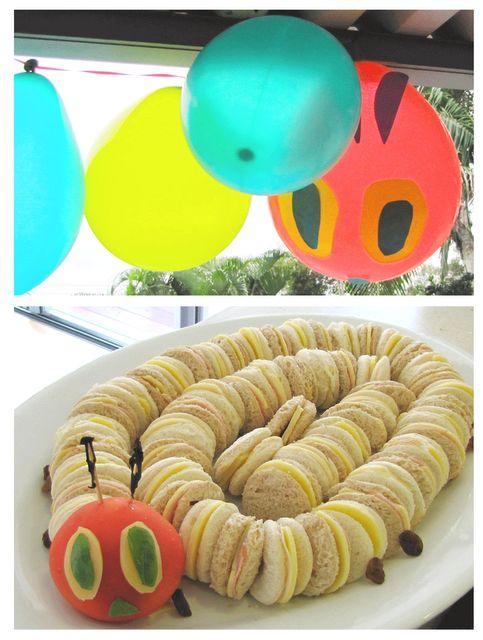 Cute sandwich ideaKids Parties, Hungrycaterpillar, Kids Birthday, Caterpillar Parties, Birthday Parties, Hungry Caterpillar Party, Caterpillar Sandwiches, Parties Ideas, Parties Food