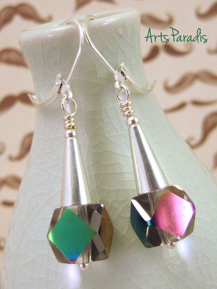 Deco Party - Silver and Glass Geometric Earrings by ArtsParadis