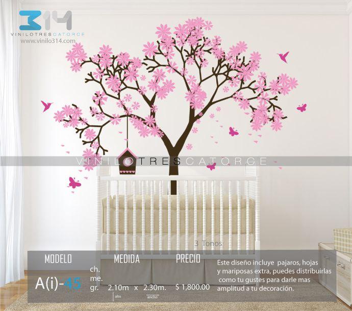 vinilos decorativos rboles infantiles sticker decorativo arbol deshojndose cerezo pajaros mariposas