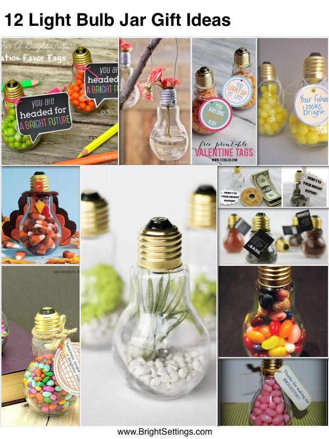 12-Light-Bulb-Jar-Gift-Ideas — Here are 12 gifts made with those adorable glass light bulb Jars. They make great gifts or party favors for all kinds of occasions. #diygifts #lightbulbjar