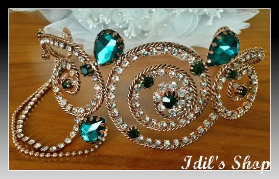 These Ottoman style tiaras are absolutely breathtaking. They are made in Turkey, by skilled Turkish artisans who give life to copper and encrusted with high quality swarovski crystals. They are bendable so you can easily bend it for perfect fit.