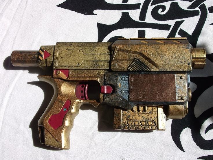 Mercenary Gunslinger - Steampunk themed NERF Recon Dart Gun by Clockwork Firebird Designs. £25.00, via Etsy.