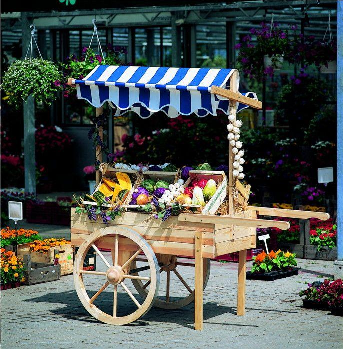 Verkaufsstand PROMADINO Marktstand Holz-Karren - Präsentieren Sie ihre Waren bestmöglich