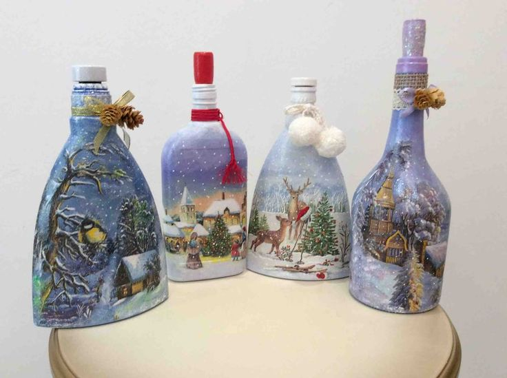 Glass Bottle Decorations 97 Best Decoupage On Glass Images On Pinterest  Decorated Bottles