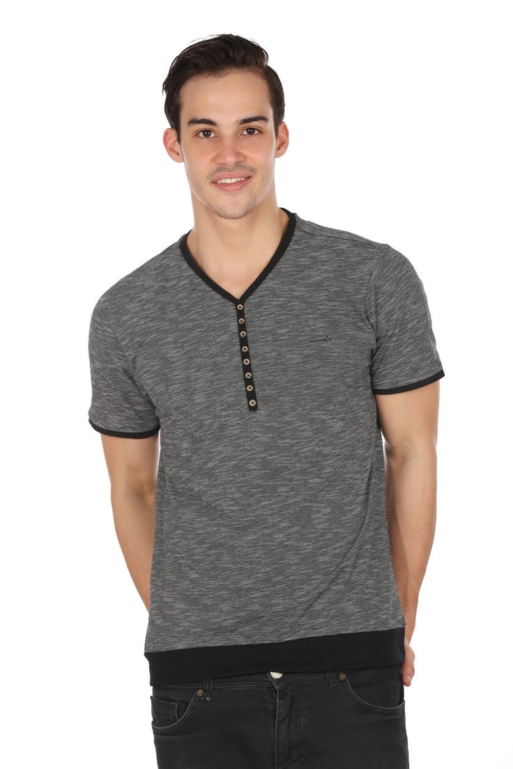 MUDO Black and Grey fashion Henley Tee