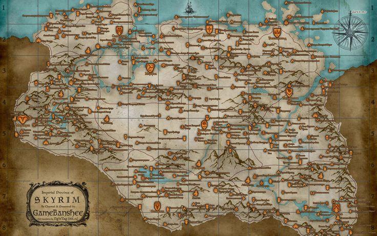 The Elder Scrolls V - Skyrim map wallpaper - Game wallpapers - #21627