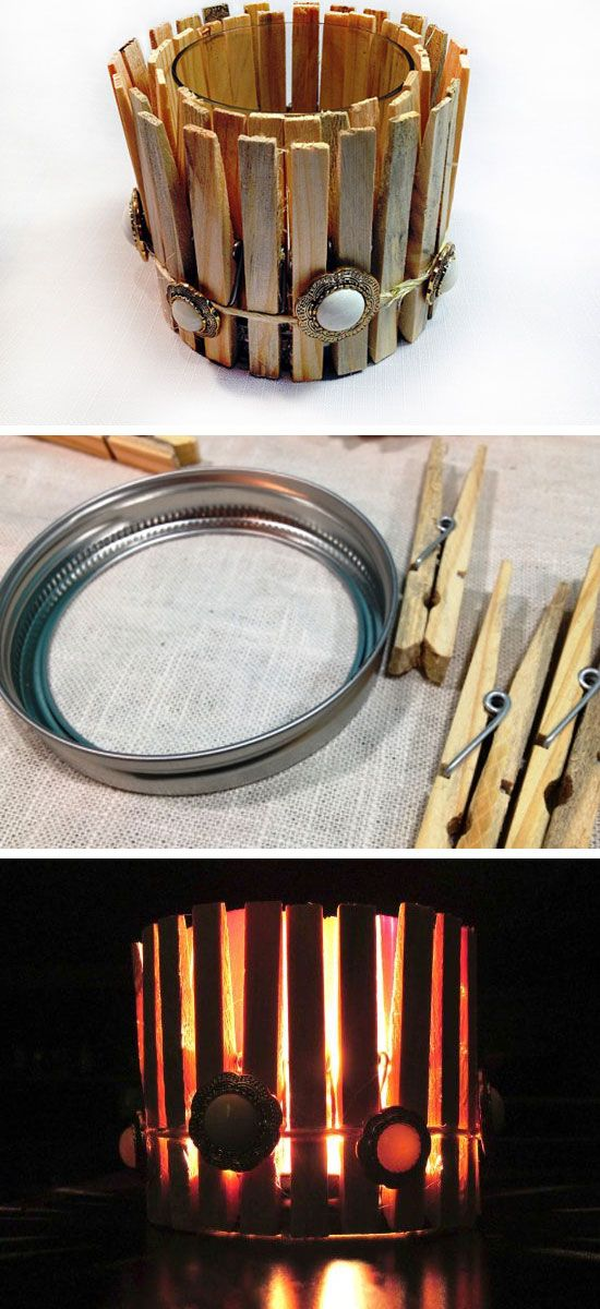 Clothespin Candles | 27 DIY Rustic Decor Ideas for the Home | DIY Rustic Home Decorating on a Budget