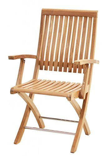 Ploss Outdoor Furniture Chaise Pliante Avec Accoudoirs Premium Teck Naturel En Venteflash