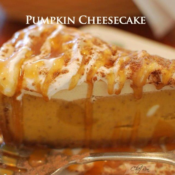 Pumpkin Cheesecake for Fall or Thanksgiving...tastes like Olive Garden's ....this luscious cheesecake combines the two classic favorites: a New York Style Cheesecake and pumpkin pie...the flavors of the pumpkin pie are complemented by a ginger snap cookie crumb crust, sweet whipped cream, caramel sauce, and a sprinkle of crumbled ginger snap cookies.