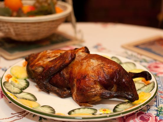 An authentic Chinese roasted duck that will leave you pleasantly surprised.  Crispy skin and subtle flavors make this a great introduction to an unfamiliar bird.