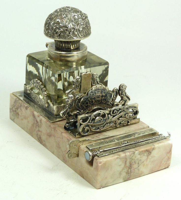 RUSSIAN SILVER CRYSTAL & MARBLE JUDAICA INKWELL  Judaica silver inkwell having a cut crystal inkwell with hinged repousse silver cover and frame. Has silver card holder, letter opener and pen. Holds 84 silver purity marks with 1879 assayer mark with ARC Cyrillic workmaster marks.