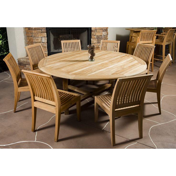 9pc Teak Round Table Dining Set - Westminster Teak Outdoor Furniture