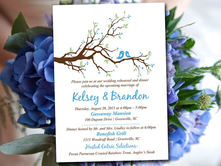 "Rehearsal Dinner Invitation Template - Cornflower Wedding Dinner Template - ""Love Bird Branch"" Wedding Shower Dinner Invitation Download by PaintTheDayDesigns on Etsy"