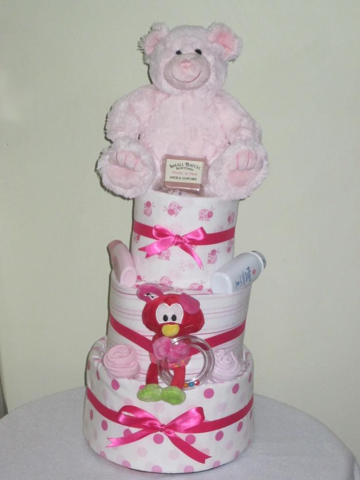 3 Tier Baby Girl Nappy Cake