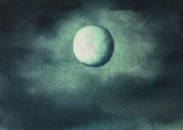 Лунное Небо Акварелью, легко.  Moon and noon light in watercolour, very ...