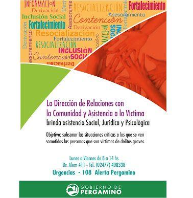 La Dirección de Relaciones con la Comunidad y Asistencia de #Pergamino a Víctima brinda #AsistenciaSocial, #jurídica y psicológica #gratuita Informate!