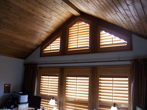 Angle Top Shutters In Northern Az Cabin Knotty Shutters