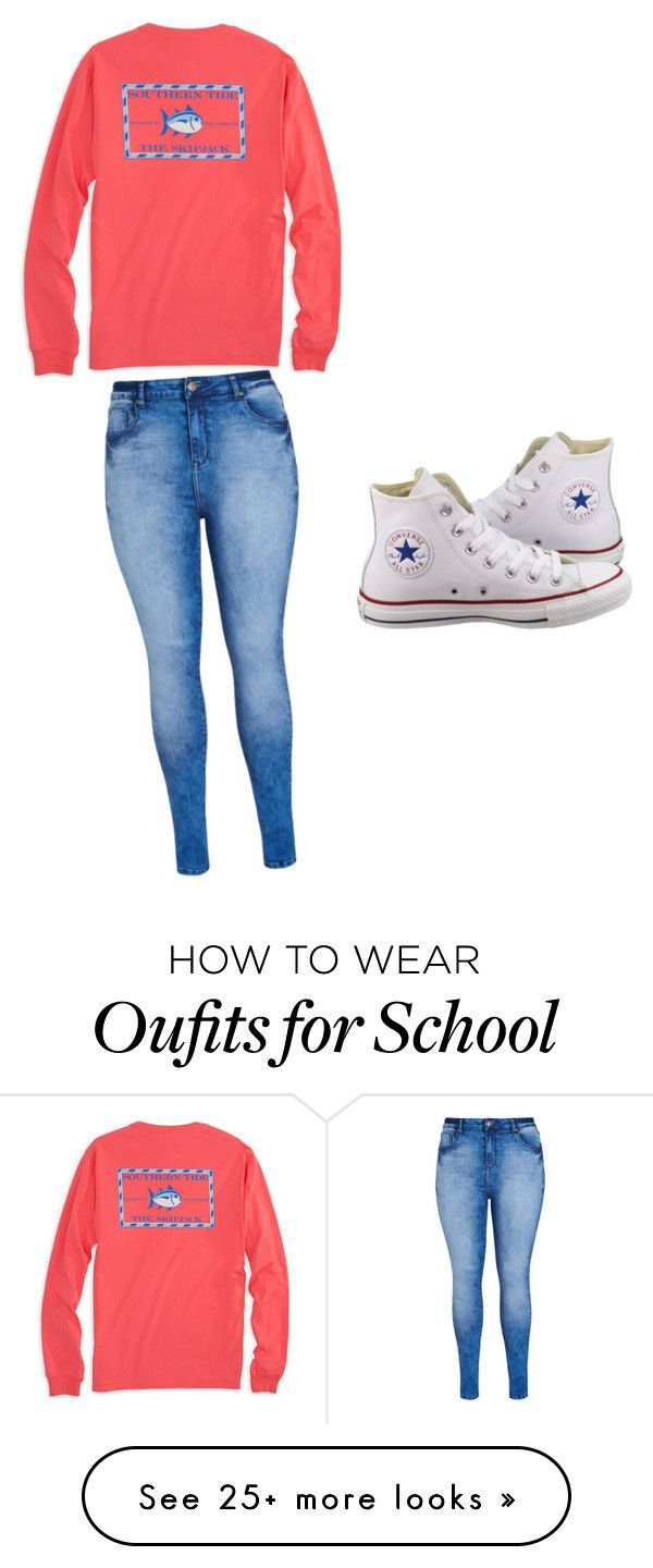 """""""School"""" by ziyanak on Polyvore featuring City Chic, Southern Tide and Converse"""