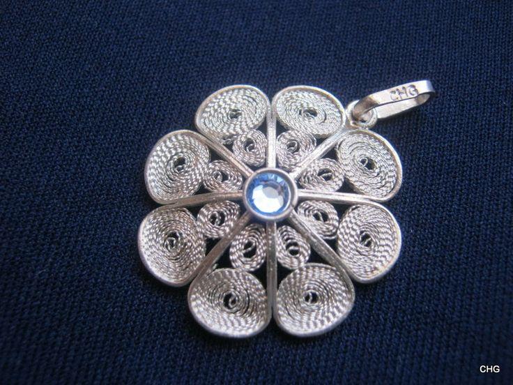 Wisiorek srebrny rozeta rękodzieło Malta upominek