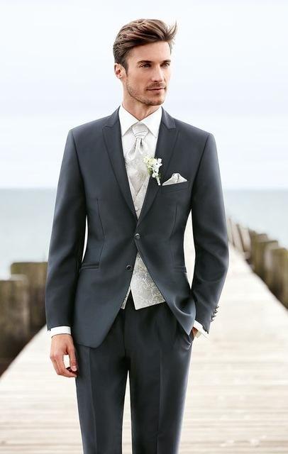 Three Pieces Mens Suits Custom Made Shawl Lapel Wedding Tuxedos