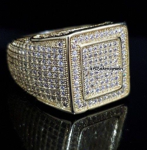 14K Yellow Gold FN Round 2.00 Ct Diamond Wedding Engagement Pinky For Men's Ring #br925silverczjewelry #MensWeddingRing #WeddingEngagementAnniversaryBirthdayGift