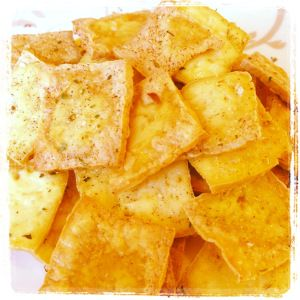 Ingredients: 1 package of firm tofu salt pepper italian-herb seasoning Directions: Preheat oven 350 degrees. Cut tofu into thin slices of squares. Spray baking sheet with cooking spray. Place tofu ...