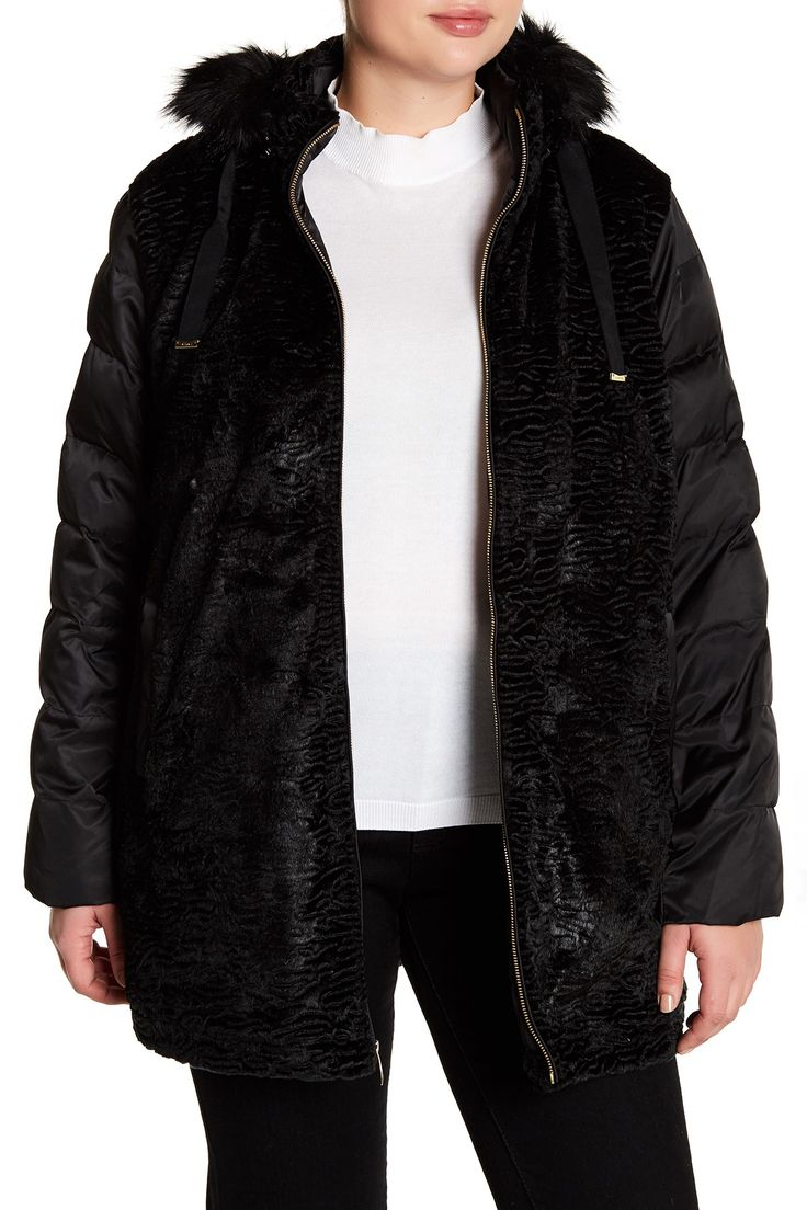 Textured Faux Fur Hooded Puffer Coat (Plus Size)