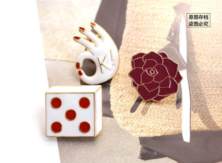 2016 Новое Прибытие Персонализированные Позолоченные Эмаль Цветок Белый Красный Эпоксидной Ок Кости Форма Броши Для Женщин Ювелирные Изделиякупить в магазине 5A Jewelry ManufacturerнаAliExpress