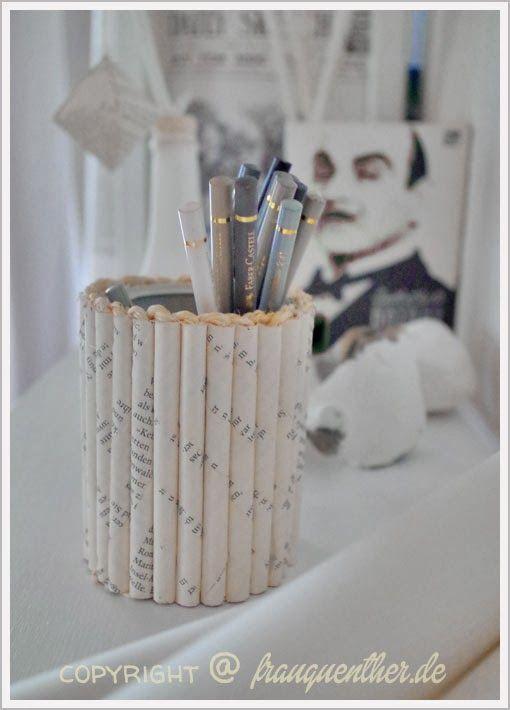 DIY - Upcycling - Stiftedose für das Arbeitszimmer - Book Art - alte Bücher sinnvoll weiterverarbeiten! Paper recycling!