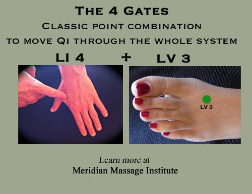4 Gates: LI 4 + LV 3 acupressure points. >> Big Tree School of Natural Healing