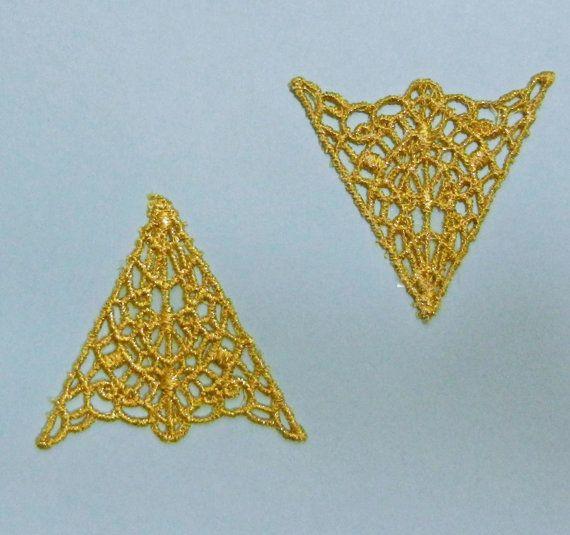 Set 6 Vintage 1980s Arrow Style Gold Lace Collar Applique Points LAT1018