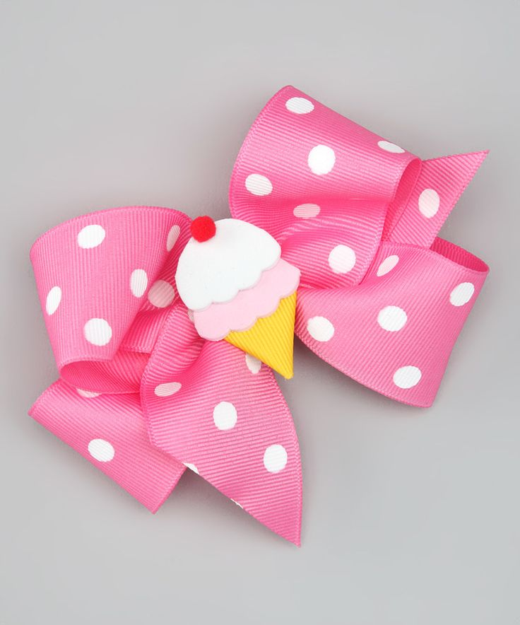 Look at this #zulilyfind! Pink Ice Cream Polka Dot Bow Clip by Picture Perfect Hair Bows #zulilyfinds
