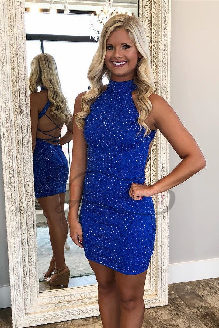 0a204254fd Sexy High Neck Tight Royal Blue Party Dresses in 2019